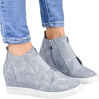 Mafulus Womens Wedge Platform Sneakers Perforated High Top Side Zipper Fashoin Booties