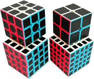 Cuberspeed Speedcubing Bundle Phantom Carbon Fiber Sticker Magic Cube 2x2 3x3 4x4 with 5x5 Stickerless Black Sticker Speed Cube