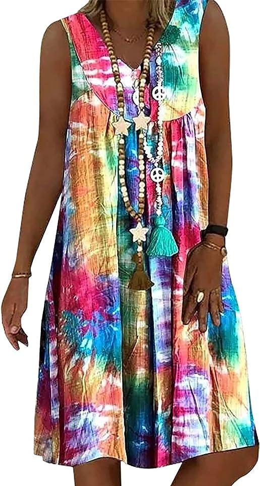 Sommerkleid Damen V-Ausschnitt Strandkleider Kurzarm A-Linie Patchwork Freizeitkleid MiniKleid Kleid