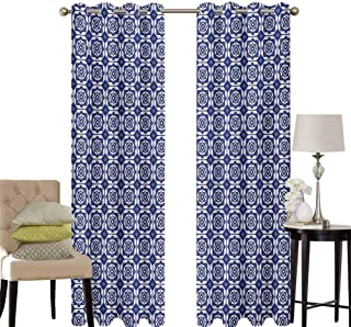 hengshu Dutch Sliding Door Curtains for Living Room Delft Style Geometric Pattern with Rhombuses and Hexagons Holland Design Room Darkening Curtains Room Decor W42 x L84 Inch Navy Blue and White