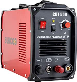 SUNCOO Non-Touch Pilot Arc Plasma Cutter DC Inverter Metal Cutting Machine Automatic Dual Voltage 110/220V Cut 50D Red