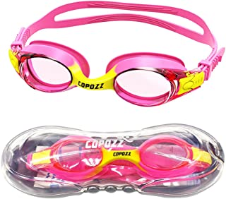 COPOZZ Kids Swimming Goggles, Child (Age 4-12) Waterproof Swim Goggles Clear Vision Anti Fog UV Protection No Leak Soft Silicone Frame for Kid Toddler Boys Girls