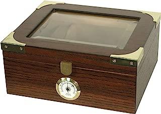 Desktop Humidor, Capri Elegant, Tempered Glasstop, Cedar Spanish Divider, Brass Ring Glass Hygrometer, Holds 25 to 50 Cigars, by Quality Importers