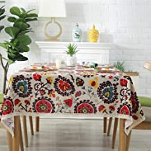 NATURETY Washable Cotton Linen Boho Style Tablecloth,Table Cover for Kitchen Dinning Tabletop Decoration (Red Floral, 55x8...