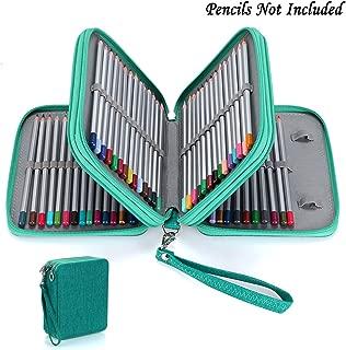 BTSKY Zippered Pencil Case-Canvas 72 Slots Handy Pencil Holders for for Prismacolor Watercolor Pencils, Crayola Colored Pencils, Marco Pencils (Green)