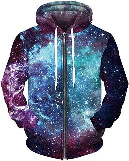 Unisex 3D Printed Plus Velvet Galaxy Hoodie Sweatshirt Zipper Pullover Pocket Jackets