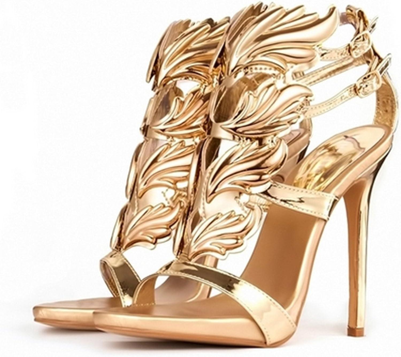 Twinkle UU high Heel Sandals gold Leaf Flame Gladiator Sandal shoes Party Dress shoes Woman high Heels