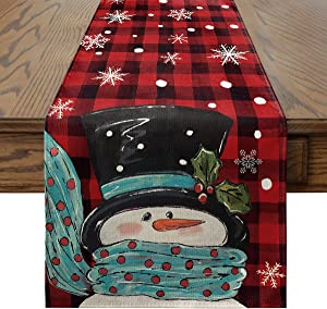Artoid Mode Snowman Red and Black Buffalo Plaid Christmas Table Runner, Seasonal Winter Xmas Holiday Kitchen Dining Table Decoration for Indoor Outdoor Home Party Decor 13 x 72 Inch