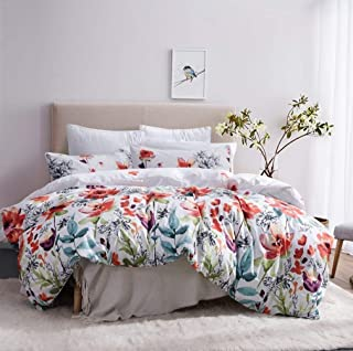 Leadtimes Duvet Cover Set Queen Floral Boho Hotel Bedding Sets Comforter Cover with Soft Lightweight Microfiber 1 Duvet Cover and 2 Pillowcases (Queen, Style2)