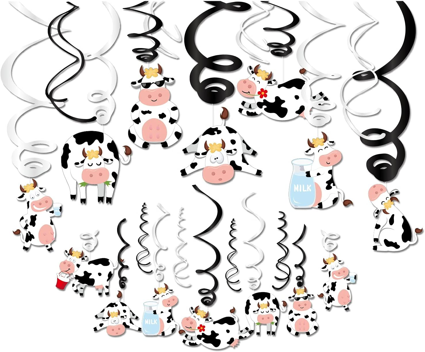 Kristin Paradise 30Ct Cow Hanging Swirl Decorations, Farm Animals Party Supplies, Cow Print Birthday Theme Decor for Boy Girl Baby Shower, Moo 1st Bday Favors Idea
