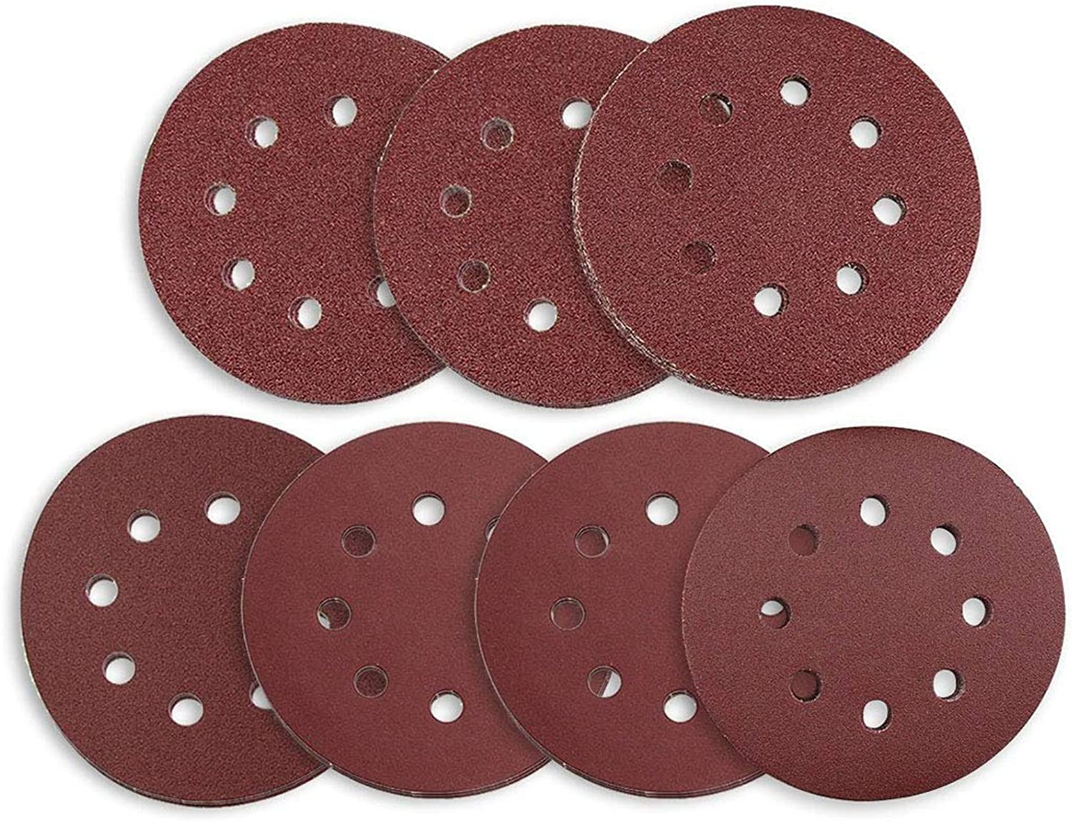 BIN BON  Hot Sale Sanding Discs 70 Pcs 8 Holes 5 Inch Sandpaper Circular Dustless Hook and Loop 60 80  120 180  240 320  400 Grit As
