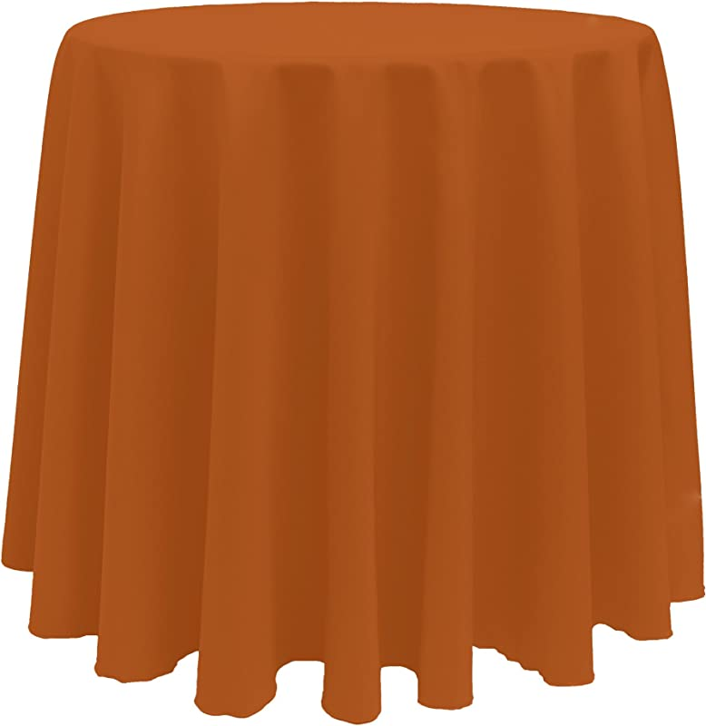 Ultimate Textile 3 Pack 132 Inch Round Polyester Linen Tablecloth Burnt Orange