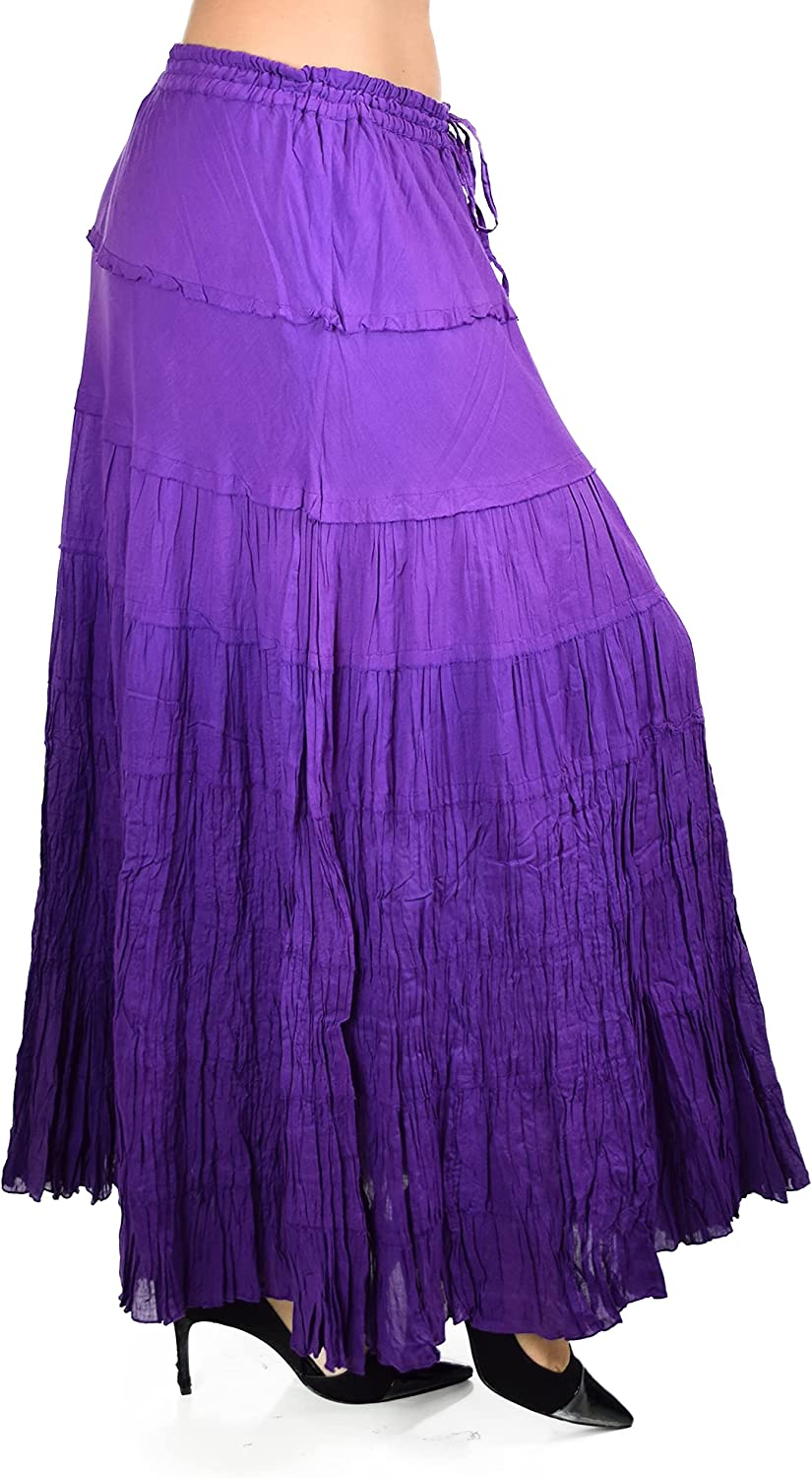 d2bPLUS Flowy 8 Tiered Ombre Tie Dye Broomstick Skirt | Reg and Plus Size
