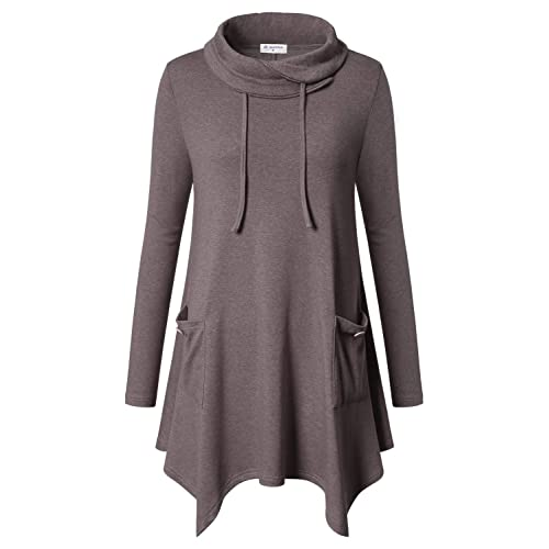 2237badc917985 Bulotus Women's Long Sleeve Cowl Neck Asymmetrical Hem Tunic Tops with  Pockets