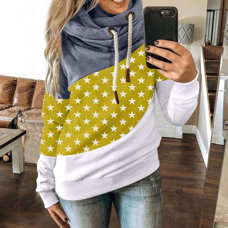 HUYURI Damen Kapuzenpullover Lang Hoodie, Sweatshirt Frauen Stehkragen Pullover mit Kapuze Herbst Winter Mantel Slim Fit Hoody Casual Pulli High Neck Outwear 32-gelb