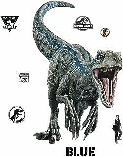 RoomMates Jurassic World: Fallen Kingdom Velociraptor Giant Peel and Stick Wall Decals, Blue, Black - RMK3799GM