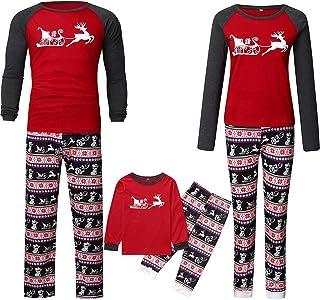 K-Youth Ropa para Padres e Hijos Pijamas de Navidad Familiar Conjuntos Bebe Niño Navidad Pareja Disfraz Ropa Mujer Hombre Invierno Bebé Niña Chandal Ropa de Dormir Familiares