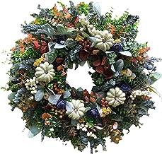 heave Grinalda de outono, grinalda de abóbora, grinalda de outono rústica, para com abóboras e folhas de eucalipto para po...