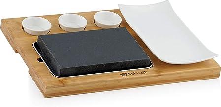 Mahlzeit Lavasteen set (7-delig), set met hete steen, borden en dipschalen op praktische houten plank, steaksteen, steakst...