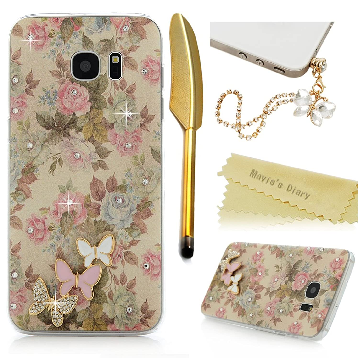 Galaxy S7 Edge Case (Not for S7)- Mavis's Diary 3D Handmade Bling Crystal Lovely Butterflies Shiny Diamonds Fashion Floral Pattern Clear Hard Cover for Samsung Galaxy S7 Edge & Cute Dust Plug & Stylus