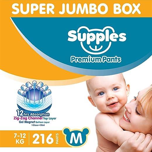 Supples Baby Diaper Pants M Pack of 3 Super Jumbo Box (216 Piece)