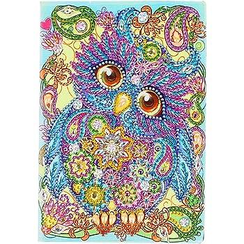 Cuadernos A5 Pintura de Diamantes Diarios Secretos A5 Blanco Mandala 5D Cubierta de Cuero con Pintura de Diamante 50 P/áginas Planas Diario de Bocetos Regalos de Cumplea/ños 50 Hojas 120 P/áginas