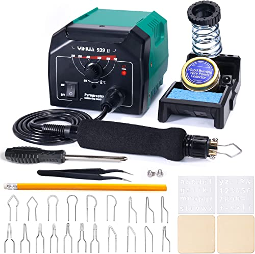 YIHUA 939 II Wood Burning Pyrography Station, with Adjustable 392~1382℉ (200~750℃), Intelligent Working Indicator. Wood Burning Kit with a Complete Tips Set to Launch Your Creativity. (Green Finish)