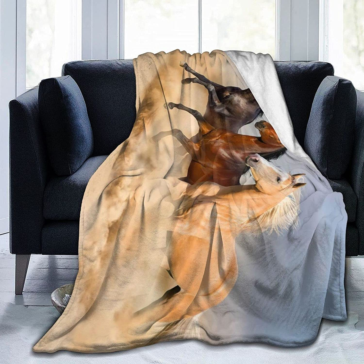 Beautiful Horse Department store wholesale Pattern Soft Blanket Decorative Throws Bedspread