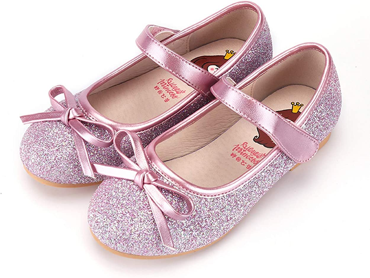 Lurryly Toddler//Little Kid Girls Ballerina Dress Flats Bows Mary Jane Shoes Crystal Princess Casual Shoes