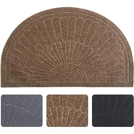 """Rubber Doormat Indoor Outdoor Half Round Front Door Mat, Low Profile Welcome Mat with Non Slip Backing Absorbent Shoe Scraper Floor Mat Entry Rug, 18"""" X 30"""""""