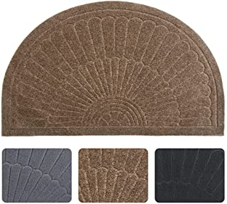 Rubber Doormat Indoor Outdoor Half Round Front Door Mat, Low Profile Welcome Mat with Non Slip Backing Absorbent Shoe Scra...