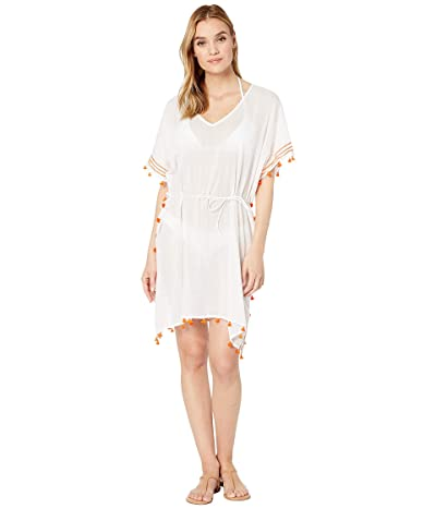 Seafolly Mini Tassel Kaftan Cover-Up (White/Tangelo) Women