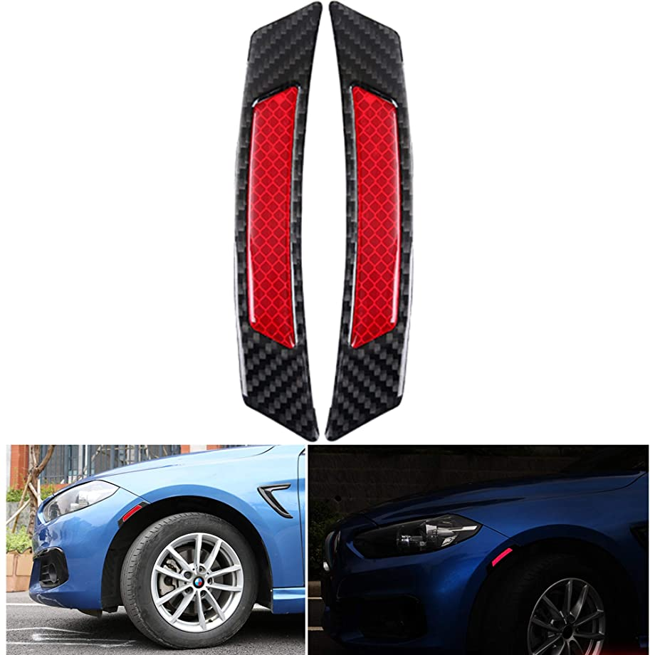 Reflective Tape Carbon Fiber Pattern Self-Adhesive Glossy Caution Warning Safety Reflector Strips Sticker Fluorescent for Automobile Car Wheel Fender Eyebrow Pickup Truck SUV RV , 2 pcs (Red/Black)
