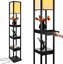 Brightech Maxwell Drawer Edition - Shelf & LED Floor Lamp Combination - Modern Living Room Standing Light with Asian Display Shelves - Classic Black