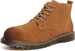 ZRH Chaussures Homme Hiver Chelsea Bottes for Hommes Cheville Chaussures Tirez sur PU Dentelle en Cuir en Bout Rond avec S...