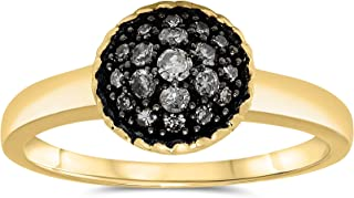 JewelryBliss 10k Yellow Gold Diamond Domed Ring, Birthstone of April