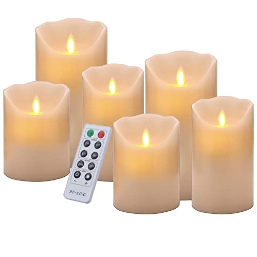 Ivory Decorative Table Centerpiece for Parties Battery Operated LED Candles Home and Festival Celebration 3/×6 Flameless Pillar Candles Real Wax Flickering Candles with 4-Hour//8-Hour Timer Mode