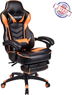 Ergonomic Computer Gaming Chair, Large Size PU Leather High Back Office Racing Chairs with Widen Thicken Seat and Retractable Footrest and Lumbar Support Video Game Chair 170 Degree Reclining Orange