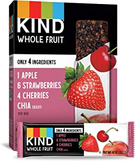 KIND Whole Fruit Bars, Strawberry Apple Chia, No Sugar Added, Gluten Free, (formally known as Pressed), 1.2 Ounce (24 Count)