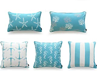 Hofdeco Beach Indoor Outdoor Cushion Cover ONLY, Water Resistant for Patio Lounge Sofa, Aqua Turquoise Anchor Coral Seahor...