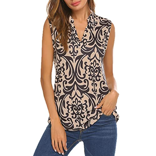 cc1ab89a3e245 Halife Women s Sleeveless Floral Print V Neck Henley Tank Tops Blouse Shirts  Tunic