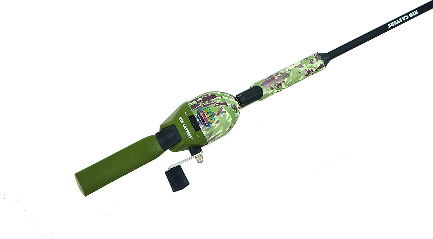 Includes Bobber Practice Casting Plug Push Button-Spincast Reel /& Safety Hook Kid Casters 34IN Tangle-Free Youth Kids Fishing Pole Fish Camo Pattern