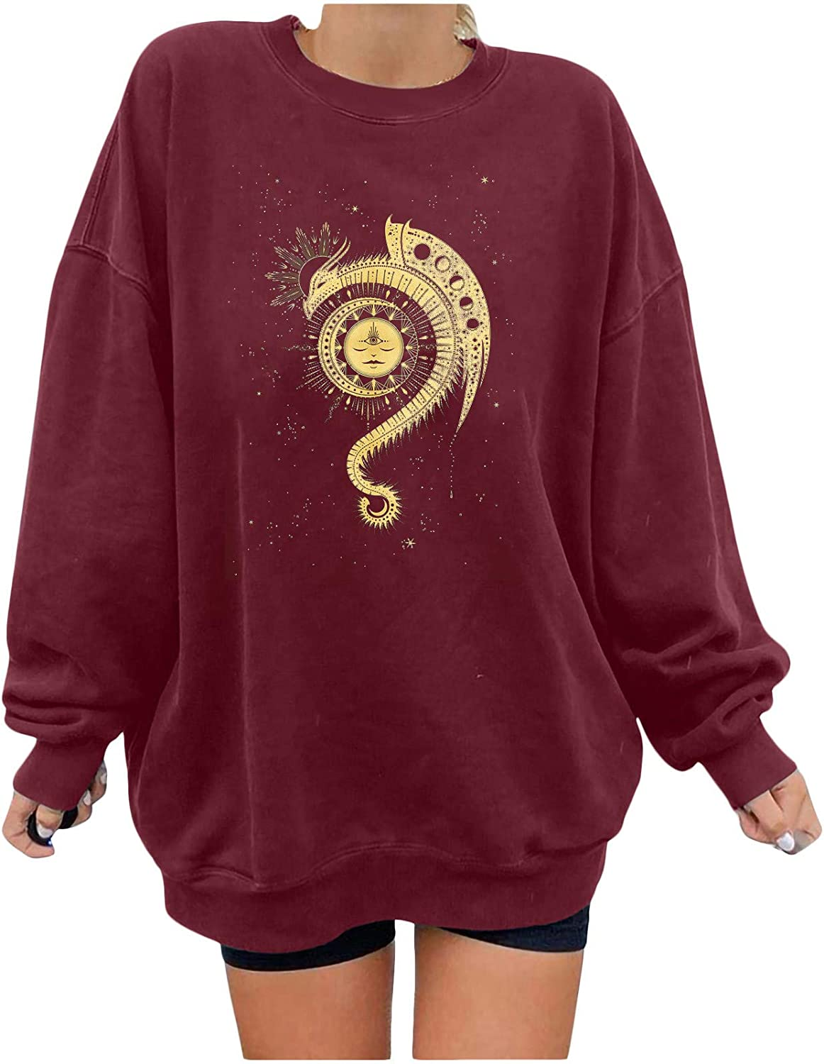 Tenworld B Christian Shirts for Women All items in Max 55% OFF the store Graph Long Moon Sun Sleeve