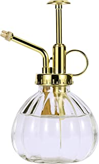 DELFINO Glass Plant Mister Spray Bottle, 6.3 Inches Clear Glass Water Spray Bottle with Gold Top Pump Small Watering Can, ...