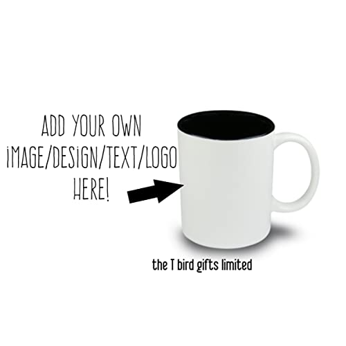 Design your own mug Personalised mug ~ your own name picture message text ~ 11 oz black inner