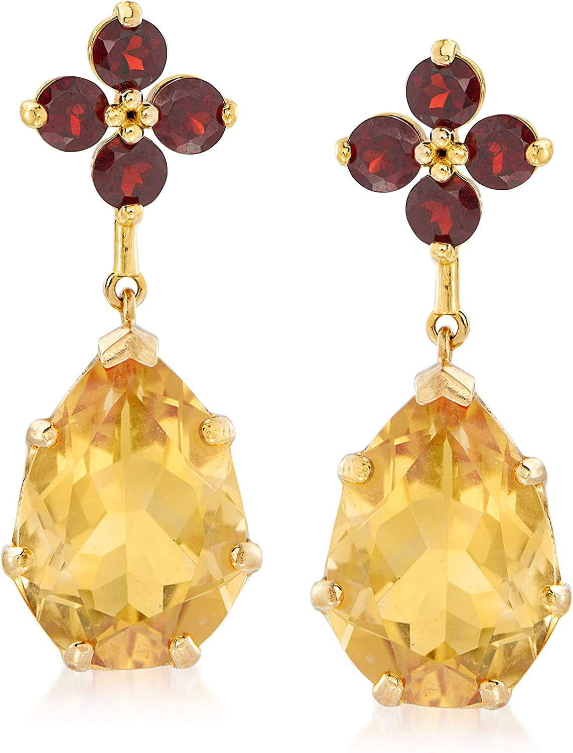 Ross-Simons 6.50 ct. t.w. Citrine and 1.20 ct. t.w. Garnet Floral Drop Earrings in 14kt Yellow Gold