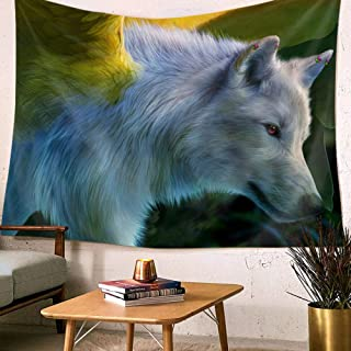 MRQXDP Green Plant Background, Fierce White Wolf, Printed Tapestry Wall Decoration Bedroom Living Room Dormitory Beach Towel