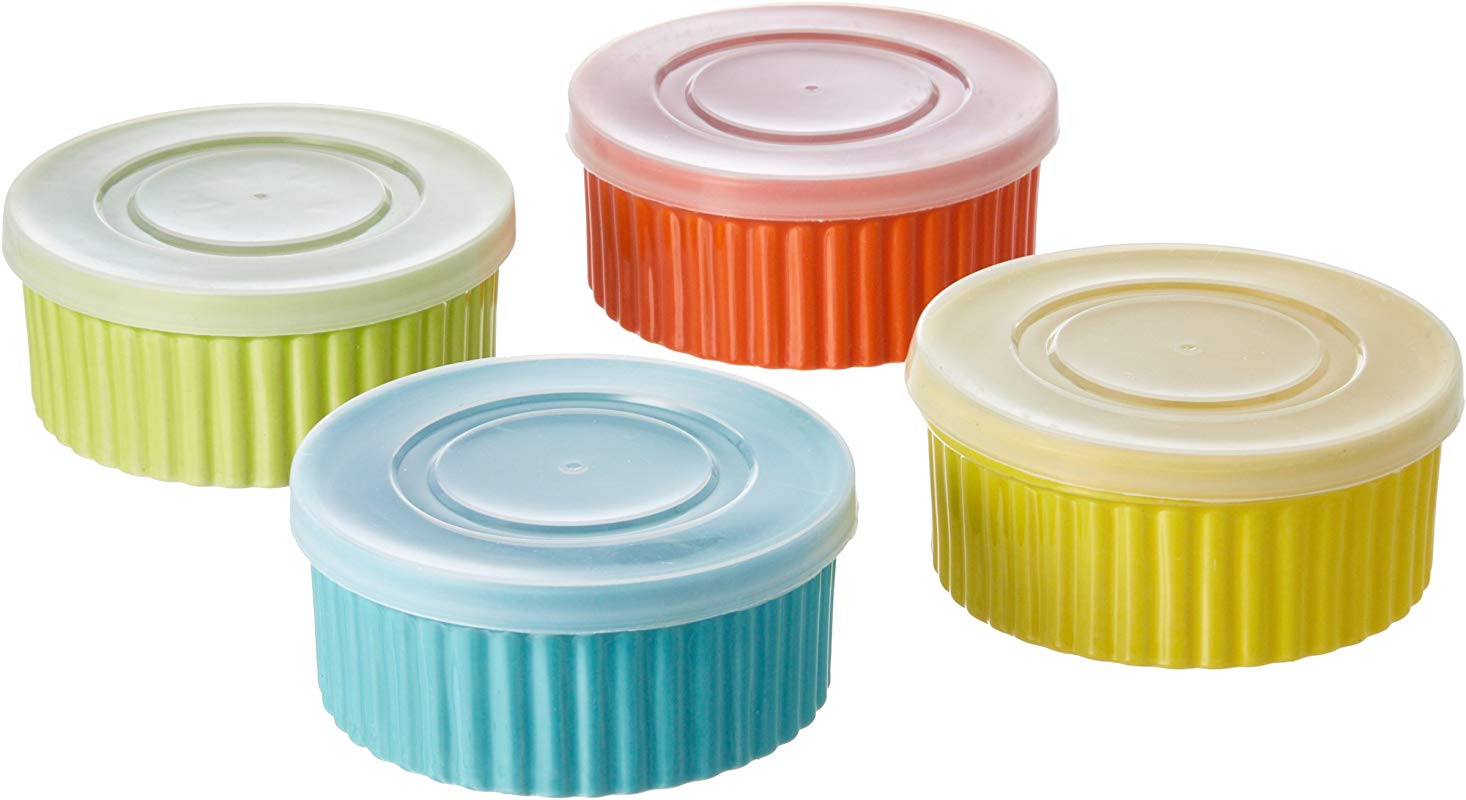 8 Piece 8 Oz Variety Color Ceramic Ramekin Serve And Storage Set