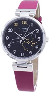 ساعة بمينا اسود مُزين بكوكبة برج القوس وسوار من الجلد الاصلي للسيدات من كاسيو، موديل LTP-E03L-4ADR