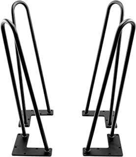 Hairpin Metal Table Legs, (Black) 1/2 Inch Thick - (Set of 4) (H12-2Rod-1/2)